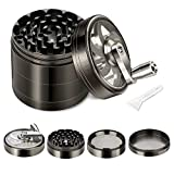 Herb Grinder, Spice Grinder with Foldable Crank Handle, 4-piece 2.5' Herb Grinder Zinc Alloy Manual Grinder with Sharp Teeth for Preparing Ingredients, Pollen Scraper, Herbs