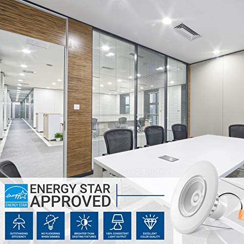 Hyperikon 6 Inch Rotatable LED Recessed Gimbal Lighting, 16.5W=75W, 5 Inch, Dimmable Downlight, Energy Star, Daylight White, 4 Pack