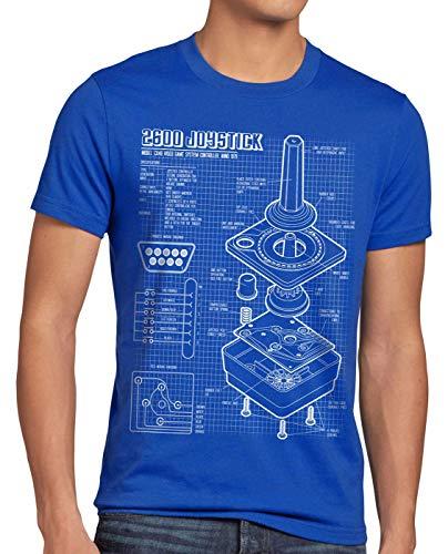style3 2600 VCS Console Videogiochi Cianografica T-Shirt da Uomo Joystick retrogaming, Dimensione:L, Colore:Blu