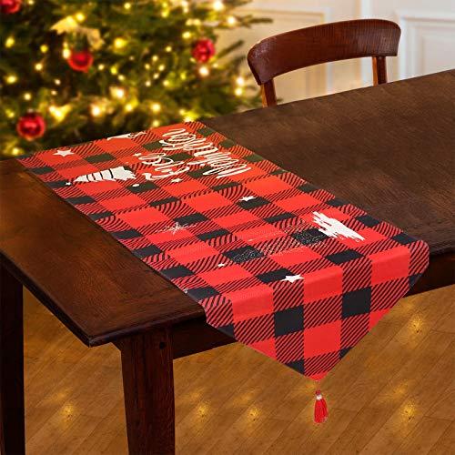 Tacobear Camino de Mesa Navidad para Decoración Navidad Mantel Rojo Muñeco de Nieve Flor a Cuadros Mantel de Navidad Camino de Mesa Navidad Decoración Navidad (B)