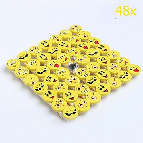 CHSYOO 48 Stücke Emoji Smiley Radiergummi Set, Mitbringsel Geschenk für Geburtstag Kinderparty Danksagung Weihnachten Garten Party