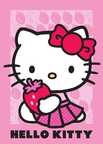 Associated Weavers 618284 - Tappeto in Poliammide, Soggetto: Hello Kitty con Fragola, Dimensioni: 133 x 97 x 1 cm, Colore: Rosa