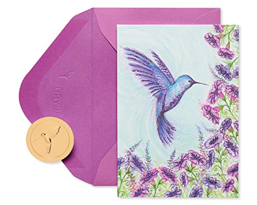 Papyrus Boxed Blank Cards with Envelopes, Purple Hummingbird (14-Count)