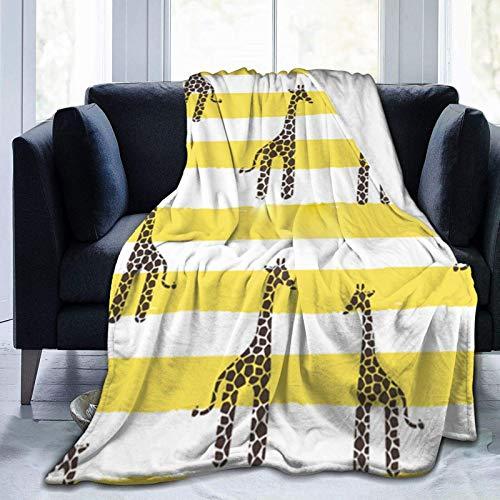 Manta con soporte de jirafa y rayas, ultra suave, manta de forro polar, ligera y cálida de 127 x 101 cm
