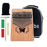 vlvee kalimba17 tasti, strumento per pianoforte a pollice in mogano, con accessori e istruzione e martello, portatile professionale pianoforte, per bambini, adulti e principianti