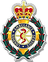 Magnet 3x4 inch Badge Shaped London Ambulance Service Sticker - UK England Logo Crest Magnetic Magnet Vinyl Sticker