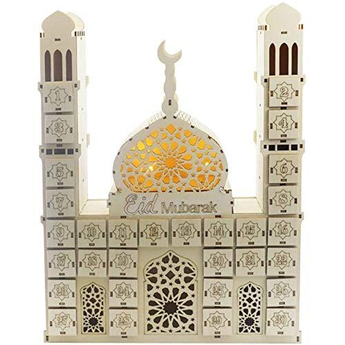 Hezhu LED Ramadan Kalender Eid Mubarak Ramadan Muslim Islamisch Adventskalender DIY (Eid Mubarak)