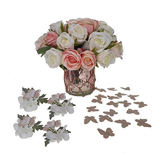 STEFANAZZI Set Pasqua Decorazioni per la tavola Fiori con Vaso segnaposto e Farfalle Decorative Kit Completo con addobbi pasquali centrotavola per Regalo Pasquale