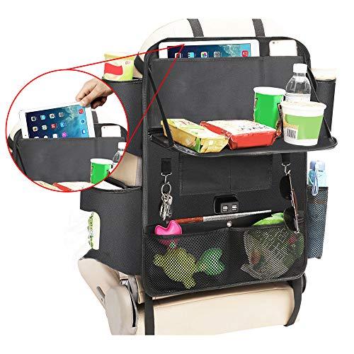 DEKINMAX Auto Rückenlehnenschutz mit USB-Hub, Auto Rücksitz Organizer für Kinder Auto Rückenlehnentasche Rücksitzschutz Multi-Tasche wasserdichter Rücksitzschoner Kick-Matten-Schutz mit Ipad Halter