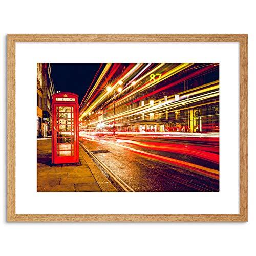Wee Blue Coo Petite Photo encadrée Longue Exposition Londres City Street UK Fluo F97X13144