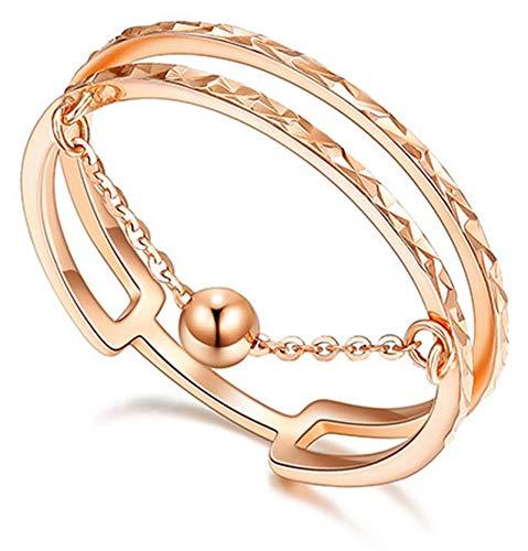 Ubestlove Verlobungsring Rosegold 18 Karat Rotgold Ehering Ohne Stein Doppelschichtkugel Ring...