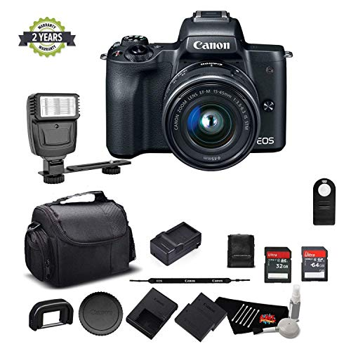 Canon EOS M50 Mirrorless Digital Camera with 15-45mm Lens and 4K Video 2680C011 Bundle w/Memory Cards, Digital Slave Flash, Spare Battery + More - International Model w/ 2 Year Seller Warranty