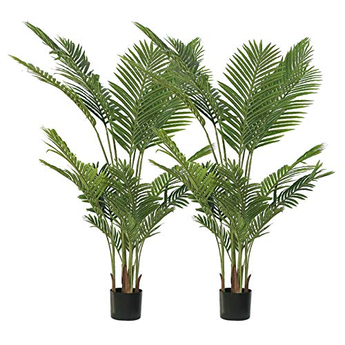 kutuuhome Artificial Areca Palm Plant Fake Palm Tree Faux Tree for Indoor Outdoor Modern Decoration Feaux Dypsis Lutescens Plants in Pot for Home Office Housewarming Gift-17 Leaves (2 Pack, 63 Inch)