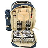 4 Person Picnic Backpack Hamper Cooler Bag with Tableware Insulated bottle Holder Tableware