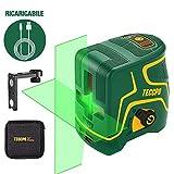 Livella laser Verde 30M, USB Ricarica, Linea Laser a Croce TECCPO, Autolivellante e Funzione...
