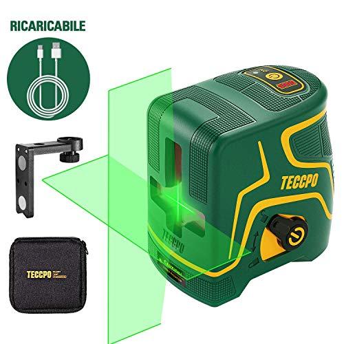 Livella laser Verde, USB Ricarica, Linea Laser a Croce 30m TECCPO, Decorazione d\'interni, 120° Grandangolo, Autolivellante e Funzione Impulso, Supporto Magnetico, 360° Rotante, IP54 - TDLS09P