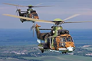 Posterazzi Poster Print Collection Eurocopter AS532 Cougar Helicopters in Flight Over Bulgaria Anton Balakchiev/Stocktrek Images, (34 x 22), Multicolored