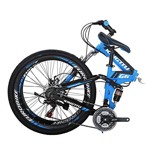 "26"" Full Suspension Mountain Bike 21 Speed Folding Bicycle Men or Women MTB (G6 Blue)"