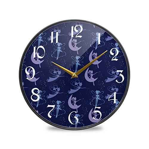 ART VVIES Reloj de Pared Redondo de 12 Pulgadas sin tictac silencioso operado con Pilas Oficina Cocina Dormitorio Decoraciones para el hogar-Hada voladora Varita mágica Luna Chica