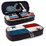 Funda de lápiz de cuero de gran capacidad con bandera de Panamá, organizador de papelería de bolígrafo grande Organizador de caja de bolsa de almacenamiento grande, bolsa de papelería para estudiantes