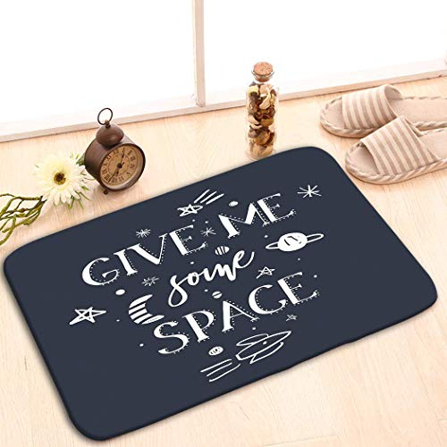 Bikofhd - Felpudo Antideslizante para Interior/Exterior/Puerta Delantera/baño, Alfombra de Entrada de 60 x 40 cm, diseño con Texto en inglés Give me Some Space Quote Slogan Space Galaxy Theme