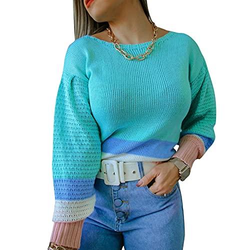 SHIZUANYUE - Sudadera de manga larga para mujer, cuello redondo, blusa, jersey, jersey de punto extragrande, ligera, de punto, cómoda, informal, azul, S