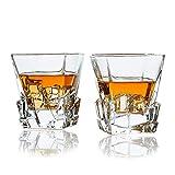 SkySnow® Vasos de Whisky, Juego de 2 Vasos de Whisky, Vaso de Vidrio Transparente Sin Plomo, Vasos de Vaso únicos Batidoras de Ron Baileys Vodka Gin
