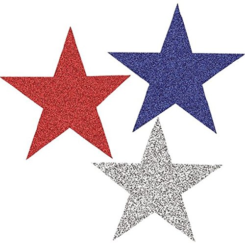 """Amscan Red White and Blue Fourth of July Party Glitter Stars Cutout Decoration, foil, 7"""", Pack of 10"""