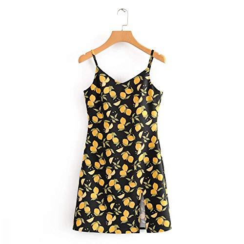 Damen-Leibchenkleid, Kleid mit V-Ausschnitt und Zitronenmuster, geteilter Saum, ärmelloses Neckholder-Kleid mit hoher Taille, geeignet für Strände, Partys, Datteln, Cocktailpartys, Alltagskleidung