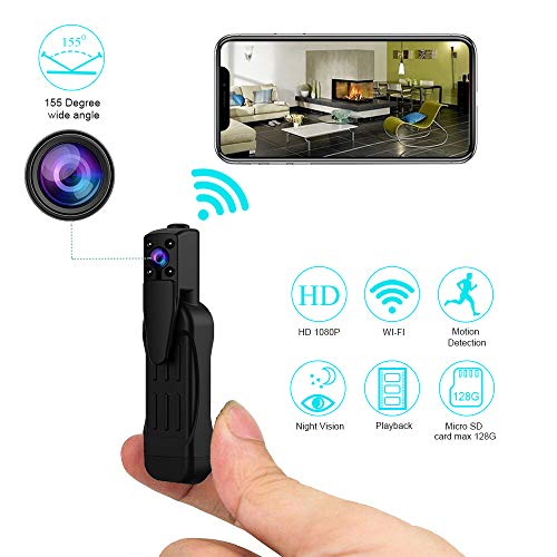 Spy Camera Wireless Hidden Camera 1080p WiFi Home Security Cameras Nanny Cam Pen 155 Degrees Wide Angle Lens Night Vision and Motion Detection Remote View
