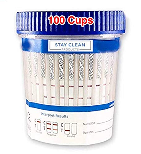 100 Cups - Stay Clean Urinalysis Kits - 12 Panel Diagnostic Multi Drug Screen Cup   Urine Drug Screening + CLIA Waived, AMP, BAR, BUP, BZO, COC, THC, PCP, MTD, MDMA, OXY, MET, OPI, MOR (100)