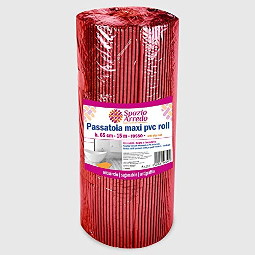 La Briantina Alfombra roja Antideslizante, Rollo Recortable de 65 cm x 15 Metros, para Cocina, baño y lavandería, Color Rojo