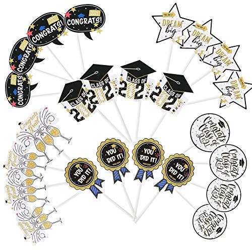 SUNBEAUTY 24er Set Abschlussfeier Cupcake Toppers 2021 Graduierung Kuchendeko Abi Bachelor Muffin Dekoration Graduation Party Tortendekoration