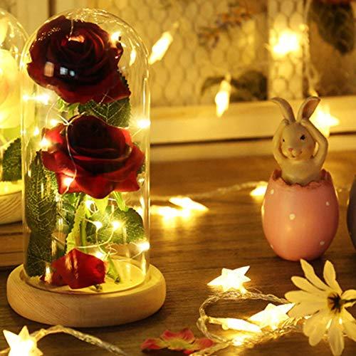 ShangSky Rose Silk Light 20 LED Light Glass 2pcs Lampada Rose in Seta Artificiale con Paralume in Vetro Base in Legno,Regalo per la Festa della Mamma
