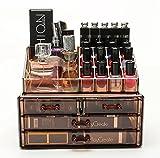 FOBUY Caja acrílica Estante de maquillajes Maquillaje Cosméticos Joyería Organizador (4 Drawers Clear C) (marrón oscuro)
