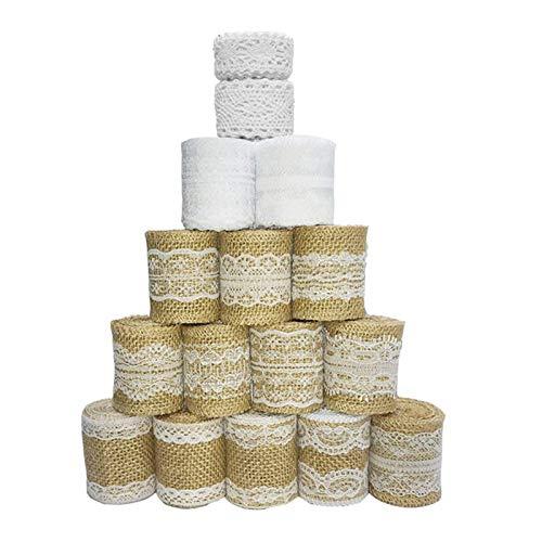 Sparta's Store 16 rouleau de ruban de toile de jute de dentelle.12× rouleau de ruban de toile de jute, 2 ×dentelle de soie blanche et 2× rouleau de ruban.beau et pratique!