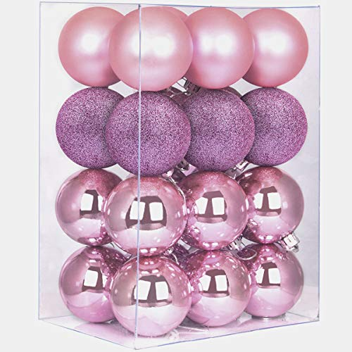 GameXcel 24Pcs Christmas Balls Ornaments for Xmas Tree - Shatterproof Christmas Tree Decorations Large Hanging Ball Pink 3.2' x 24 Pack