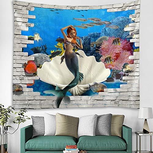 KHKJ Tapiz Colgante de Pared Colcha de Cama Toalla de Playa Mantel Estera de Yoga Decoración del hogar Diseño de Sirena A5 95x73cm