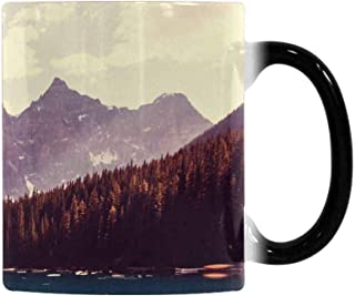 InterestPrint Beautiful Moraine Lake in Banff National Park Canada Heat Sensitive Color Changing Coffee Mug, Ceramic Mug 11oz Morphing Tea Cup for Mom Dad Grandpa Grandma
