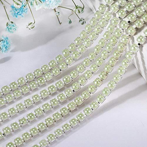 1 Yard Parels Steentjes Keten Kleurrijke Ronde ABS Parelketting Zilveren Basis Cup Voor DIY Kledingstuk Schoonheid Accessoires Sieraden maken, 6, SS8 2.5mm