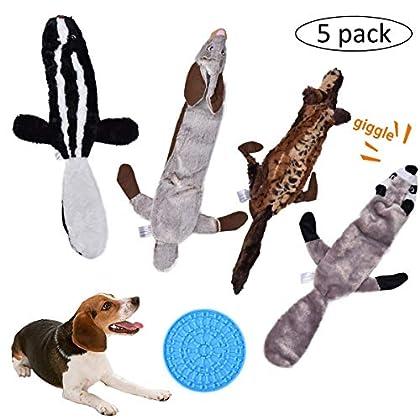 Quietschendes Hundespielzeug und Hundespielzeug, mit Kaninchen, Bär, Wolf und Eichhörnchen, Plüschspielzeug für kleine, mittlere und große Hunde zum Spielen und Spaß. Kleben Sie das Pad auf Ihrem Badezimmer, wenn Sie duschen und trocknen möchten. Bes...