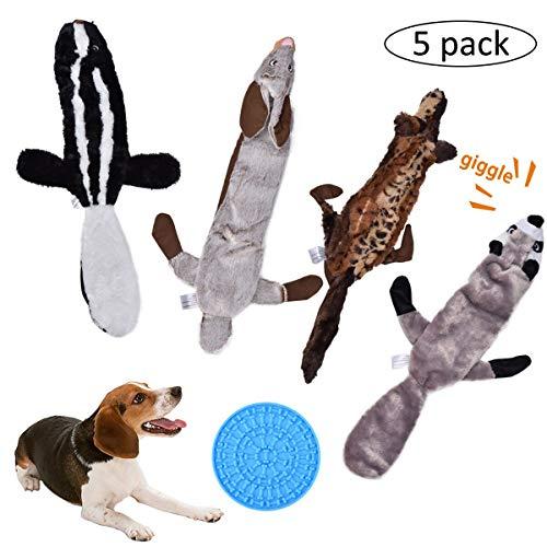 Queta Hundespielzeug, quietschend, kein Füllen, langlebiges Plüsch, 5er-Pack, für Hunde und kleine und mittelgroße Hunde