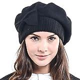 Frauen Barette 100% Wolle Baskenmützen Schicke Winter Mütze HY022 (Schwarz)