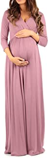 Mother Bee Maternity 3/4 Sleeve Ruched Maternity Dress W/Empire Waist for Baby Showers or Casual Wear