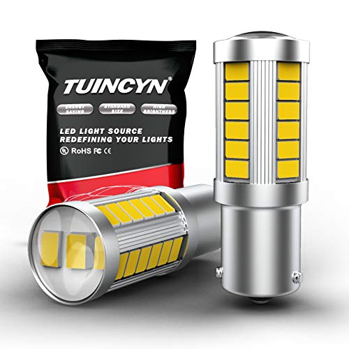 TUINCYN BAU15S PY21W Lot de 2 Ampoules Blanches 5630 33SMD LED 6000K 900 lumens 7507 1156PY pour feu Stop, feu de stationnement, Clignotants, DC 12 V 3.6 W