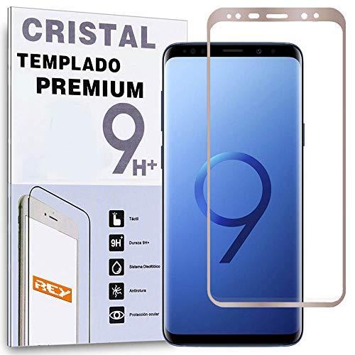 REY Protector de Pantalla Curvo para Samsung Galaxy S9+ / S9 Plus, Oro, Cristal Vidrio Templado Premium, 3D / 4D / 5D