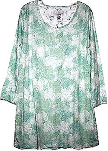 Karen Neuburger Women's Green Floral Long Sleeve Knit Nightshirt Gown (S)