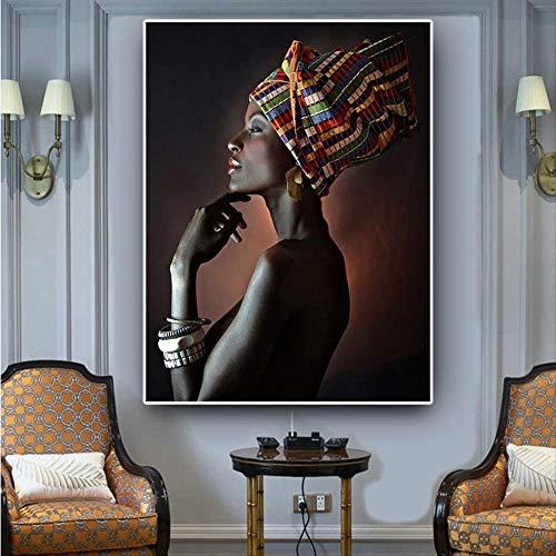 YK-GVOR Cuadro 1 Pieza Pintura sobre Lienzo Cuadros modulares Arte de la Pared Mujer Desnuda Africana Diadema India Retrato Cartel HD Impresiones Decoración para el hogar para el Dormitorio