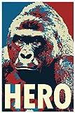 Harambe Pop Art Hero Gorilla Memorial Portrait Cool Wall Decor Art Print Poster 24x36