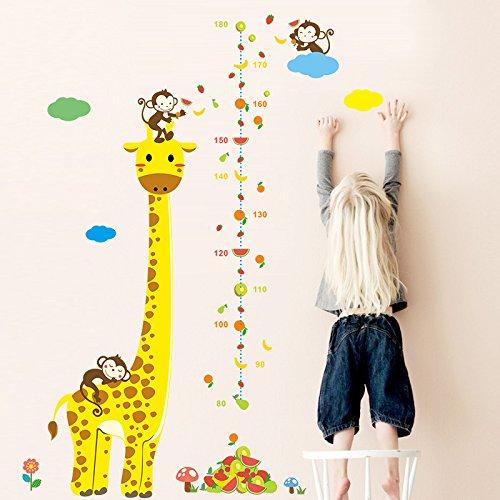 MIYAA Vinilo de Altura,Jirafa Mono y un medidor de Altura de Fruta Pegatinas para murales para Habitaciones Infantiles y la casa salón Dormitorio Paredes.